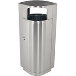 Leafview Outdoor Stainless Steel Trash Can with Locking Side Door and Pull-Out Liner (20gal.)