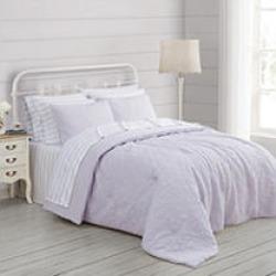 Prairie by Rachel Ashwell Quilted Top Comforter Set - 3 pc full/queen Lavendar