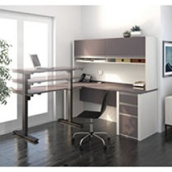 Bestar Connexion OfficePro 93000 L-Shaped Desk with Hutch and Electric Height Adjustable Table, Slate/Sandstone