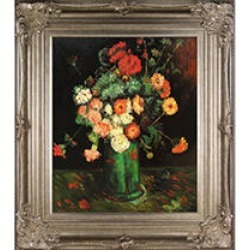 Vincent Van Gogh Vase with Zinnias and Geraniums Hand Painted Oil Reproduction found on Bargain Bro India from Sam's Club for $249.88