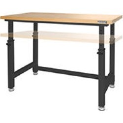 UltraHD® Adjustable Height Heavy-Duty Wood Top Workbench - Graphite