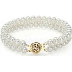 5-6mm White Freshwater Pearl 2-row Bracelet and 14k Yellow Gold Clasp found on Bargain Bro from Sam's Club for USD $111.72