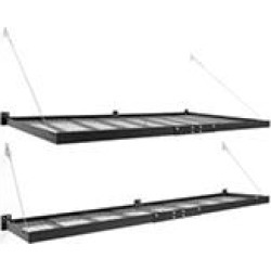 NewAge Products Pro Series 4 ft. x 8 ft. and 2 ft. x 8 ft. Wall Mounted Steel Shelf Set in Black