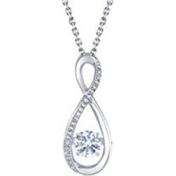 Sterling Silver Dancing White Sapphire Infinity with 0.06 CT. T.W. Diamonds Pendant