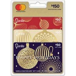 Holiday Vanilla Mastercard® $150 Value Gift Cards - 3 x $50