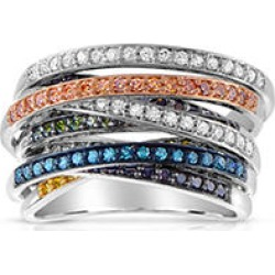 Multi-Color Diamond Band in Sterling Silver 7 found on Bargain Bro from Sam's Club for USD $303.24