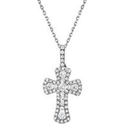 0.37 CT. T.W. Diamond Cross Pendant in 14k White Gold