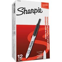 Sharpie Retractable Permanent Markers, Ultra Fine Point, Black - Dozen