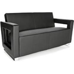 OFM Distinct Series, Polyurethane Soft Seating Lounge Sofa with Chrome Base, Model 832, Black