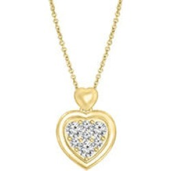 0.145 CT. T.W. Diamond Heart Pendant in 14k Yellow Gold