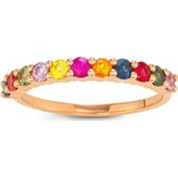 Rainbow Sapphire Ring in 14K Rose Gold 6