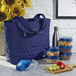 Quilted Luxe Insulated Laptop Bag with Zipper Front Pocket and Food Containers-Navy found on Bargain Bro India from Sam's Club for $19.98