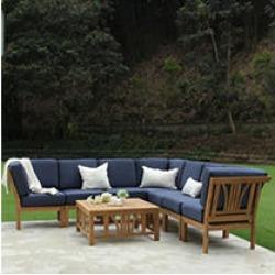 Catalina Teak 8-Piece Sectional Sofa Set (Blue)