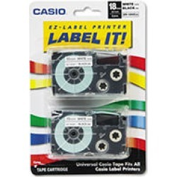 Casio - Tape Cassettes for KL Label Makers, 18mm x 26ft, Black on White - 2/Pack found on Bargain Bro India from Sam's Club for $34.48