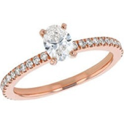 S Collection Bridal 0.75 CTTW Oval Diamond Ring In 14K Rose Gold (SI2, H-I) 5