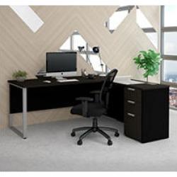 Bestar Pro-Concept Plus L-Desk with Metal Leg, Deep Grey and Black