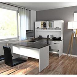 Bestar Innova HomePro 92000 U-Shaped Desk, White/Antigua