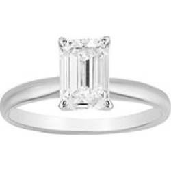 Superior Quality Collection 1.5 CT. T.W. Emerald Shaped Diamond Solitaire Ring in 18K White Gold (I, VS2)5.5