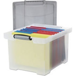 Storex - Portable File Tote w/Locking Handle Storage Box, Letter/Legal - Clear