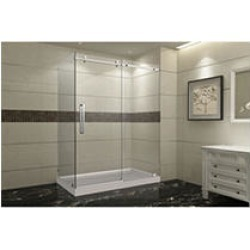 Aston Miramar Sliding Shower Enclosure with Right Base (Stainless Steel Finish)