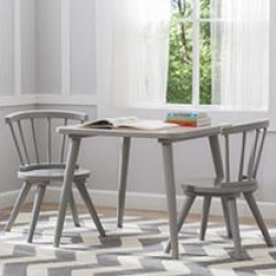 Delta Children Windsor Table & 2 Chair Set, Grey