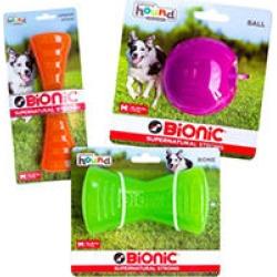Bionic Dog Chew Toy (3 Pack), Orange Urban Stick, Green Bone, and Purple Ball Pack