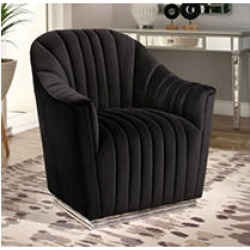 Montes Velvet Club Chair with Stainless Steel Base