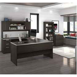Bestar Ridgeley U-shaped Desk with lateral file and bookcase, Dark Chocolate