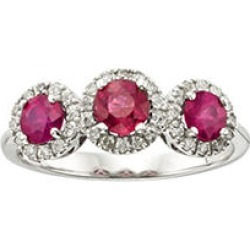 3 Stone Genuine Ruby and .19CT. T.W. Diamond Ring in 14K Gold White5 found on Bargain Bro from Sam's Club for USD $326.04
