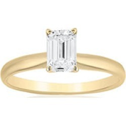 Superior Quality Collection 1 CT. T.W. Emerald Shaped Diamond Solitaire Ring in 18K Yellow Gold (I, VS2)7