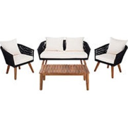 Safavieh Velso 4 Piece Outdoor Dining Set, Black/Beige found on Bargain Bro from Sam's Club for USD $683.24