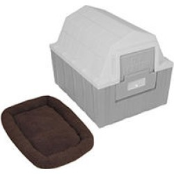 ASL Solutions DP Hunter Insulated Dog House with a Fleece Bed, Gray