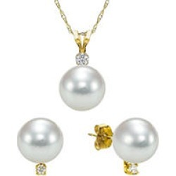 8-8.5mm Akoya Pearl with 0.03 CT. T.W. Diamond Pendant and Earring Set in 14k Yellow Gold found on Bargain Bro from Sam's Club for USD $204.44