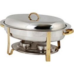 Stainless Steel Gold Accented Oval Chafer - 6 qt. found on Bargain Bro India from Sam's Club for $56.24