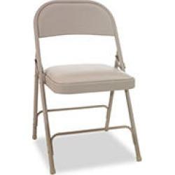 Alera Steel Folding Chair w/Padded Seat, Tan - 4 Pack