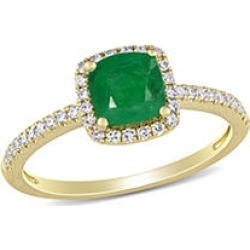 0.8 CT. T.G.W. Emerald and 0.2 CT. T.W. Diamond Halo Engagement Ring in 14k Yellow Gold 9