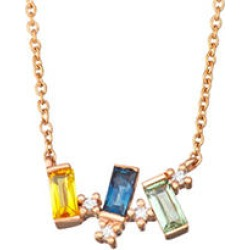 Rainbow Sapphire and Diamond Necklace in 14k Rose Gold