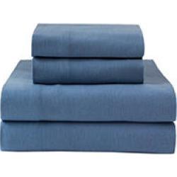 Winter Nights Flannel Queen Sheet Set - Med Blue