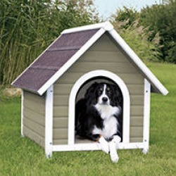 Natural Pitched Roof Dog House - Medium