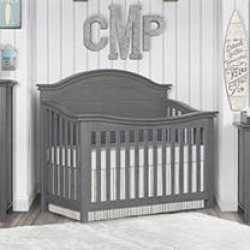 Evolur Belmar Curve Top 5-in-1 Convertible Crib, Rustic Gray