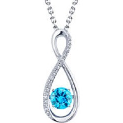 Sterling Silver Dancing Blue Topaz Infinity with 0.06 CT. T.W. Diamonds Pendant