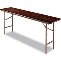 "Alera 72"" x 18"" Melamine Folding Table, Walnut"