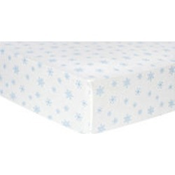 Trend Lab Flannel Fitted Crib Sheet, Blue Snowflakes