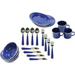 Enamel Camping 24-piece Tableware Set