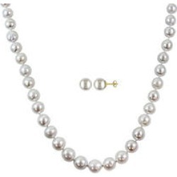 White South Sea Pearl Necklace and Stud Earrings 14k Yellow Gold