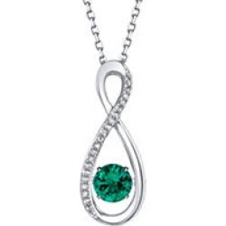 Sterling Silver Dancing Emerald Infinity with 0.06 CT. T.W. Diamonds Pendant