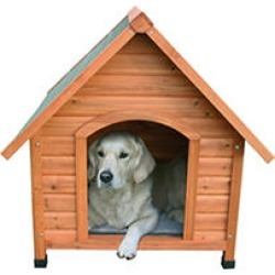Natural Pitched Roof Dog House - Large