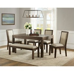 Hayden Dining Set with Bench, 6pc