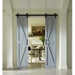 "Four Seasons Outdoor Product 36"" x 84"" Split Barn Door, Charleston Grey Board and Batten"
