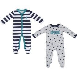 GRY/NVY/WHT 0/3M 2PK BOYS SLEEPSUITS found on Bargain Bro UK from shop.tottenhamhotspur.com